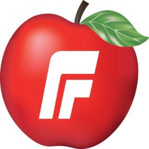 Fremskrittspartiets logo med eple og stilisert F