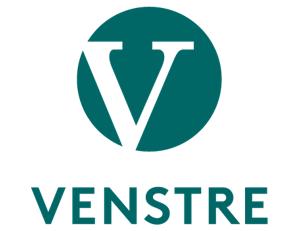 Venstres logo med runding og partinavn