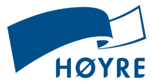 Høyres logo med sløyfe og partinavn